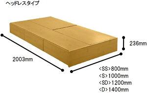 シングルブラウンヘッドレスタイプフレームのみ:引き出し+床下収納ベッド★every06(エブリー06):(ロータイプ3分割引出し1杯×3)