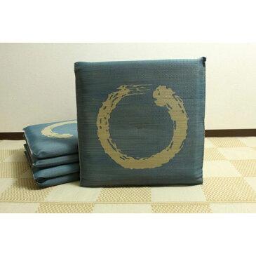 純国産/日本製 捺染返し い草座布団 『大関 5枚組』 ブルー 約55×55cm×5P