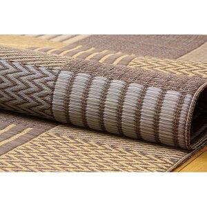 純国産い草花ござカーペット『京刺子』ブラウン江戸間10畳(約435×352cm)