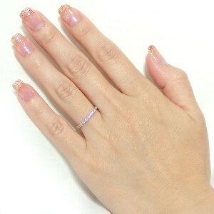 【鑑別書付】K18ピンクゴールド天然ダイヤモンドリングダイヤ0.50ctハート&キューピット(H&C)9.5号GoodアップHアップSIアップハーフエタニティリング