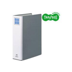 (まとめ)TANOSEE両開きパイプ式ファイルEA4タテ60mmとじグレー30冊