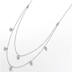 K18WGダイヤモンド2連ステーションネックレス計0.6ct