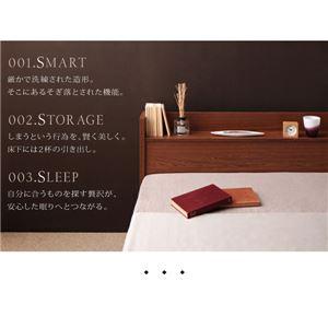 【送料無料】棚・コンセント付き収納ベッド【S.leep】エス・リープ【ポケットコイルマットレス:レギュラー付き】ダブルブラウン/ブラック
