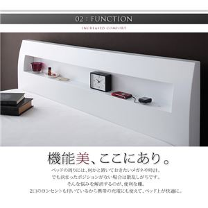 すのこベッドダブル【ポケットコイルマットレス:ハード付き】ホワイト棚・コンセント付きデザインすのこベッド【Alamode】アラモード【】