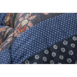国内プリントこたつ厚掛敷布団セット『万葉』ブルー205×245cm