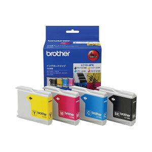 (まとめ)ブラザーBROTHERインクカートリッジお徳用4色LC10-4PK1箱(4個:各色1個)【×3セット】