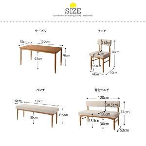 ダイニングセット4点セット(テーブル+チェア2脚+ベンチ1脚)幅150cmテーブルカラー:ナチュラルチェアカラー:アイボリーベンチカラー:グリーン北欧スタイルカバーリングダイニングmellanmalメルマー【代引不可】