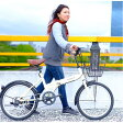 折りたたみ自転車 20インチ/アイボリー シマノ6段変速 【Raychell】 レイチェルFB-206R【代引不可】