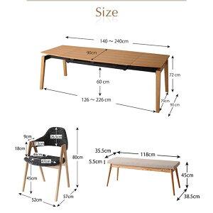 ダイニングセット9点セット(テーブル+チェア8脚)テーブルカラー:ナチュラルチェアカラー:チャコールグレー北欧デザインスライド伸縮ダイニングセットMALIAマリア【代引不可】