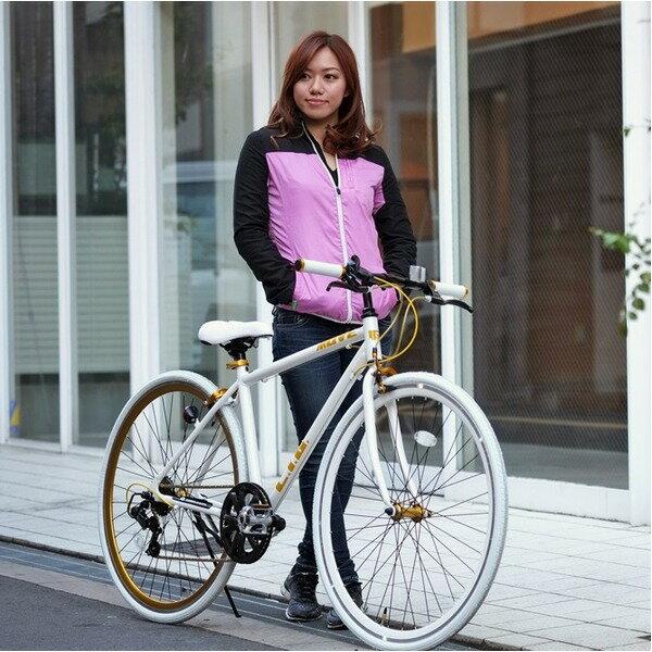 【マラソンでポイント最大35倍】クロスバイク 700c(約28インチ)/ホワイト(白) シマノ7段変速 重さ/ 12.0kg 軽量 アルミフレーム 【LIG MOVE】【代引不可】:インテリアの壱番館