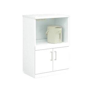 キッチンカウンター幅60cm二口コンセント/可動棚/キャスター付き日本製ホワイト(白)【完成品】【代引不可】