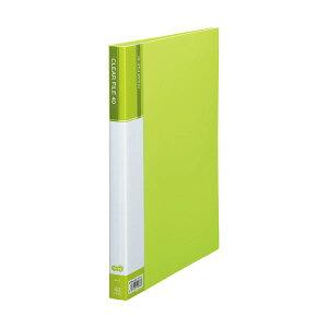 (まとめ)TANOSEEクリヤーファイル(台紙入)A4タテ40ポケット背幅23mmライトグリーン1セット(8冊)【×2セット】