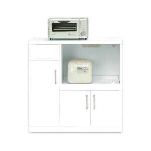 キッチンカウンター(幅90cm)二口コンセント/可動棚/キャスター付き日本製ホワイト(白)【完成品】【開梱設置】【代引不可】