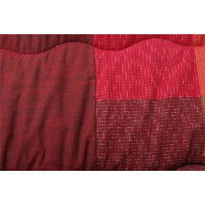 綿100%無地調国産こたつ布団長方形大掛け単品『びわ』レッド約205×285cm