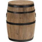 樽型スツール/収納付きオットマン 【高さ40cm】 ブラウン 木製 アイアンフレーム フタ付き 〔什器 ディスプレイ家具〕【代引不可】