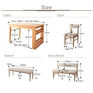 ダイニングセット7点セット(テーブル+チェア6脚)幅150cmチェアカラー:アイボリー4脚+ブラウン2脚3段階伸縮テーブルカバーリングダイニングhumielユミル【代引不可】