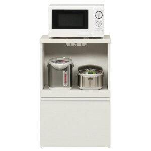 キッチンカウンター(幅60cm)二口コンセント/スライドテーブル/引き出し付き日本製ホワイト【完成品】【代引不可】