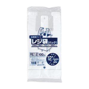 省資源レジ袋東12西30号100枚入HD乳白RE12【(60袋×5ケース)合計300袋セット】38-373