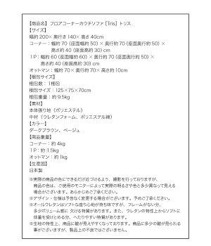 ソファーダークブラウンフロアコーナーカウチソファ【Tris】トリス【代引不可】