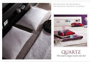 すのこベッドダブル【Quartz】【ポケットコイルマットレス:レギュラー付き】フレームカラー:ホワイトマットレスカラー:アイボリー棚・コンセント付きデザインすのこベッド【Quartz】クォーツ【】