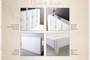ベッドクイーン【Strom】【羊毛入りデュラテクノマットレス付き】ホワイトモダンデザイン・高級レザー・大型ベッド【Strom】シュトローム【】