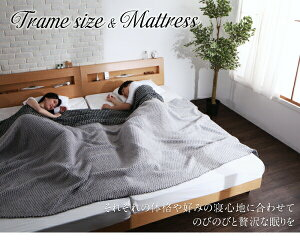 すのこベッドダブル【Mowe】【デュラテクノマットレス付き】ウォルナットブラウン棚・コンセント付デザインすのこベッド【Mowe】メーヴェ【】