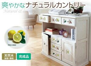 サイドボード/リビングボード(南欧風家具)【4:幅90cm】木製ホワイトウォッシュ【完成品】