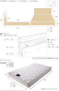 ライト・棚付きベッド〔ジェラルド〕収納なしシングルデュラテクノスプリングマットレスセット