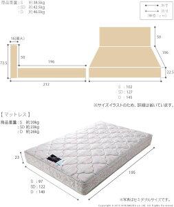 ライト・棚付きベッド〔クレイグ〕収納なしセミダブルデュラテクノスプリングマットレスセット