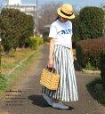 リネン素材のロングスカート*予約販売* ambience tote リネンストライプ ロングスカート *メー...