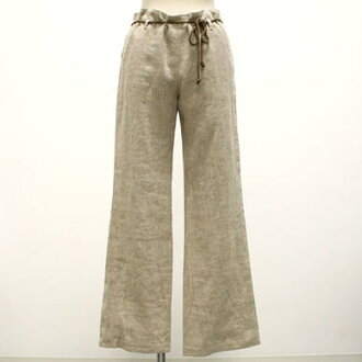 Cute babe ポリウレタンコーティングスラブリネン straight pants (natural clothes / ミセスファッション) loose big size adult natural clothing women's clothing women's outlet mode translation and modern 10P28oct13fs3gm