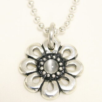 Flower pendant-Moonstone-marguerite Ruby Sterling Silver Pendant silver necklace, order, Maid, flower and stone, ladies, handmade and adult simple chic 10P15Aug15