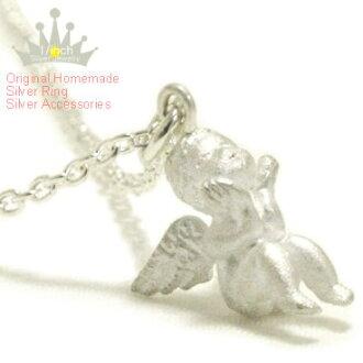 Antique プチエンジェルシルバーネックレス-Angel beleaguered-Ruby marguerite Angel, スターリングネックレス, 925 Silver, made to order 10P10Nov13fs3gm