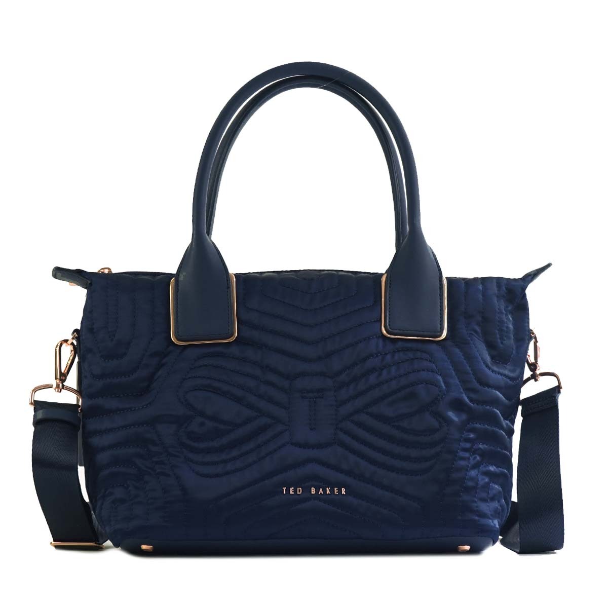 Ted-Baker-Tote-Bag-2Way-Women-Navy-143258-Quilted-Bow-Small-Nylon