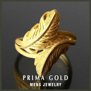 ●24KMens純金リング【指輪】【フェザーモチーフ】●24金純金K24YG【メンズ男性用ゴールド】●PRIMAGOLDプリマゴールド【送料無料】【ギフト贈り物】