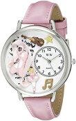 予約販売Unisex可愛いバレリーナ腕時計ピンク皮バンドバレリーナバイオリンバレエ可愛い雑貨