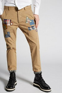 """DSQUARED2(ディースクエアード)【SCOUTPATCHHOCKNEYPANTS】""""COTTONTWILLHOCKNEYFIT""""""""パッチワーク""""コットンチノPants☆KAKY★"""