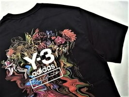"adidasSTYLEY-3(ワイ−スリー)【Y-3TOKETAPRINTSSTEE】""フローラルブーケ""バックプリントショートスリーブTee★BLACK★"