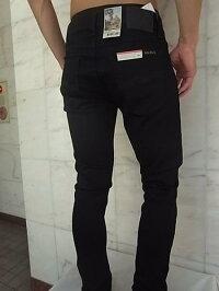 "NudieJeans(ヌーディージーンズ)【TIGHTTERRY】""SUPERTIGHTANTIFITTILTEDWAIST""""DEEPBLACK""ストレッチ混スリムスキニー""BLACK""Jeans★"