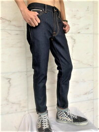 "NudieJeans(ヌーディージーンズ)【LEANDEAN】""DryJapanSelvage""ストレッチ混""セルビッチ付き""スリムストレートJeans★"