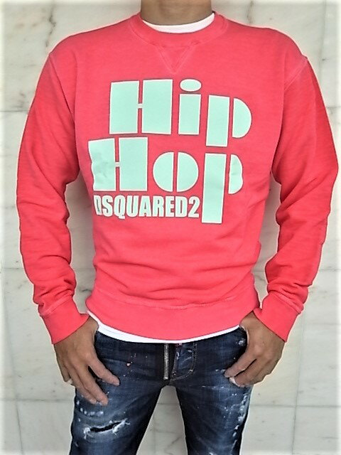 """DSQUARED2(ディースクエアード)【Hip Hop DSQUARED2】""""PASTEL DYED DAN FIT""""クルーネックスウェット★CORAL☆"""