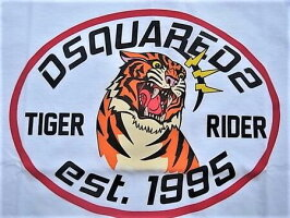 "DSQUARED2(ディースクエアード)【TIGERRIDERT-SHIRT】""VERYVERYDANFIT""""TIGERRIDERest.1995""ショートスリーブティーシャツ☆WHITE☆"