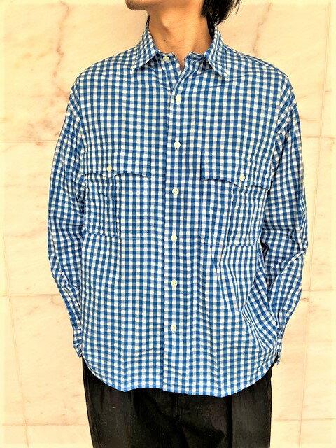 トップス, カジュアルシャツ PORTER CLASSICROLL UP GINGHAM CHECK SHIRTROLL UP SHIRTBLUE