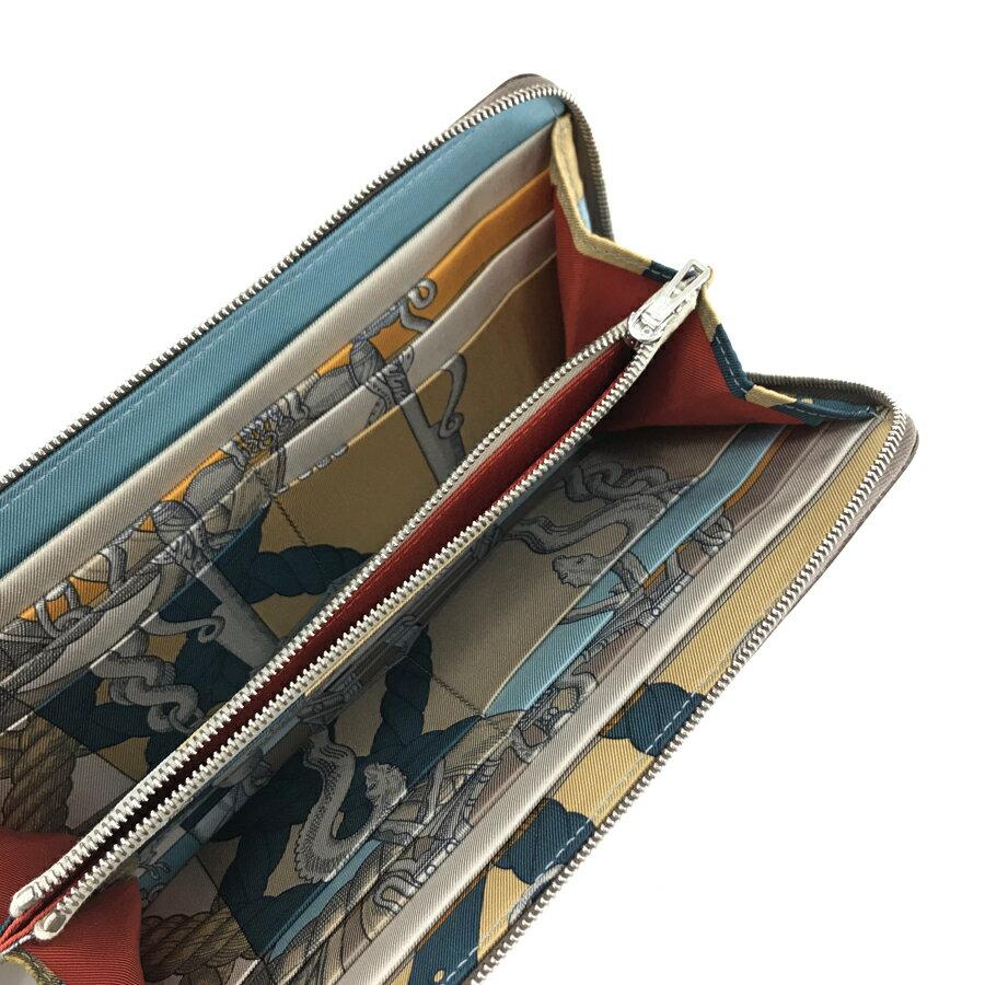 エルメス HERMES 長財布 ラウンドファスナー アザップ ロング シルクイン AZAP LONG SILK IN デッラ・カヴァレリア Della Cavalleria ヴォーエプソン エトゥープ×グリペルル シルバー金具