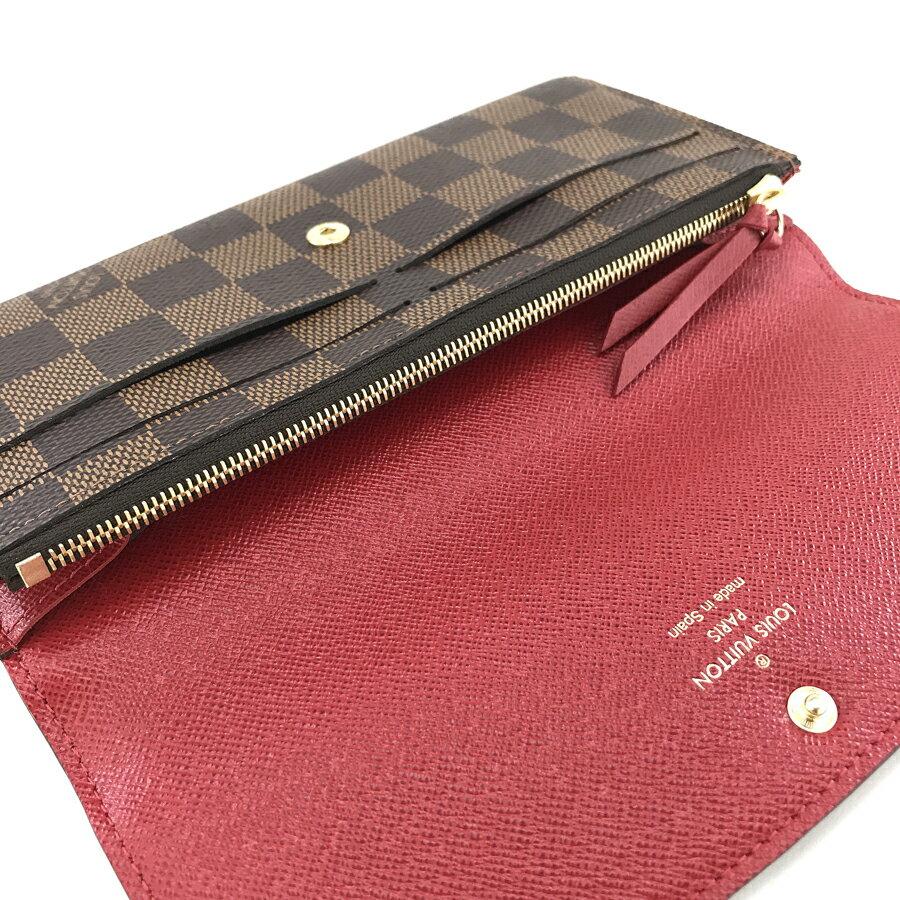 ルイヴィトン LOUIS VUITTON 長財布 フラップ ポルトフォイユ エミリー ダミエ エベヌ N63544