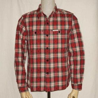 F-SCO-004L-紅白-當地人檢查襯衫004長袖子-FSCO004L-FLATHEAD-平地腦袋工作襯衫-當地人襯衫-NATIVE CHECK SHIRT-襯衫長袖子