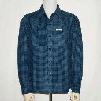 F-錫-102 L-黑藍色-1000年鳥圖案襯衫 102 L FSNO 102 L-鯔魚-平頭聊天獵犬齒襯衫-workshirt-格子圖案襯衫