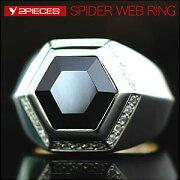 シルバー アクセサリー スパイダー クモの巣 ヘキサゴン ブラックジルコニア
