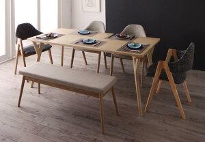 ダイニングセット 6点セット テーブル(W170)×1+チェア×4+ベンチ×1 北欧デザインワイドダイニング オレロ 6人用 6人掛け デザイナーズチェア ダイニングテーブル ダイニングテーブルセット 食