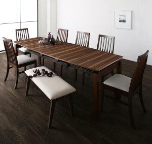 ダイニングテーブルセット 8点セット テーブル 幅140-240cm +チェア6脚+ベンチ1脚 天然木ウォールナット材 ハイバックチェア ダイニング Austin オースティン 伸縮 エクステンション 木製 8人掛け